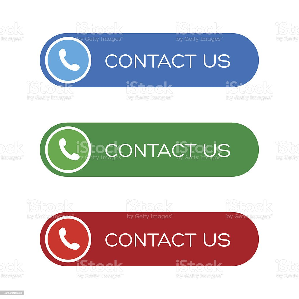 Contact us button set vector art illustration