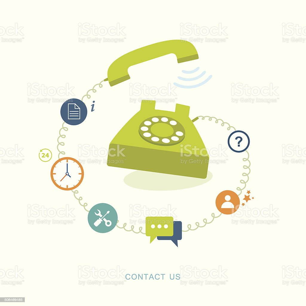 Contact us flat illustration with icons vector art illustration
