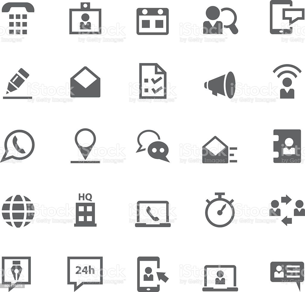 Contact us icon set vector art illustration