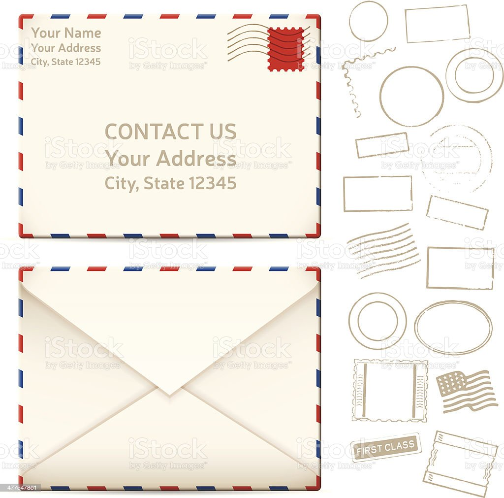 Contact Us Mail Letters vector art illustration