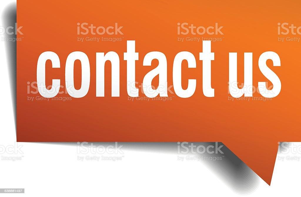 contact us orange speech bubble isolated on white vector art illustration