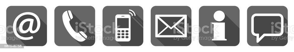 contact us six icons set vector art illustration