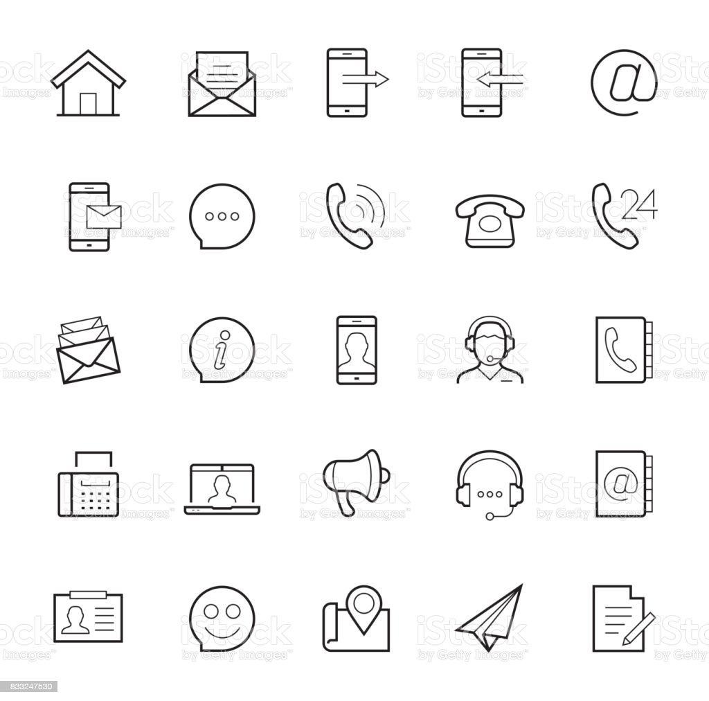 Contact us vector icon set in thin line style on white background vector art illustration