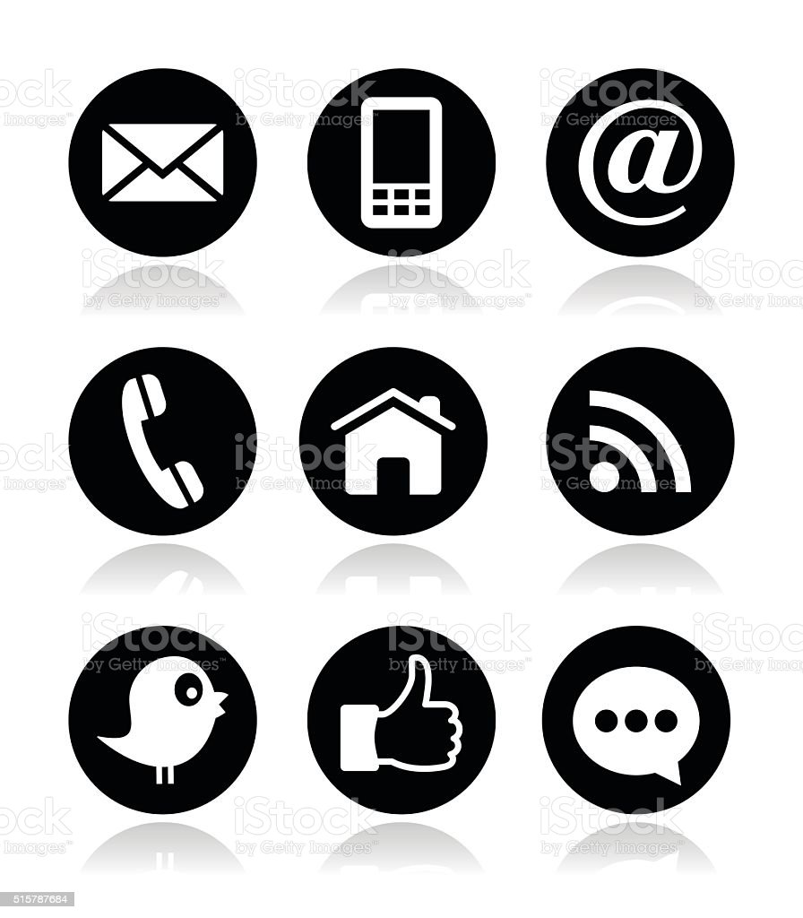 Contact, web, blog and social media round icons vector art illustration