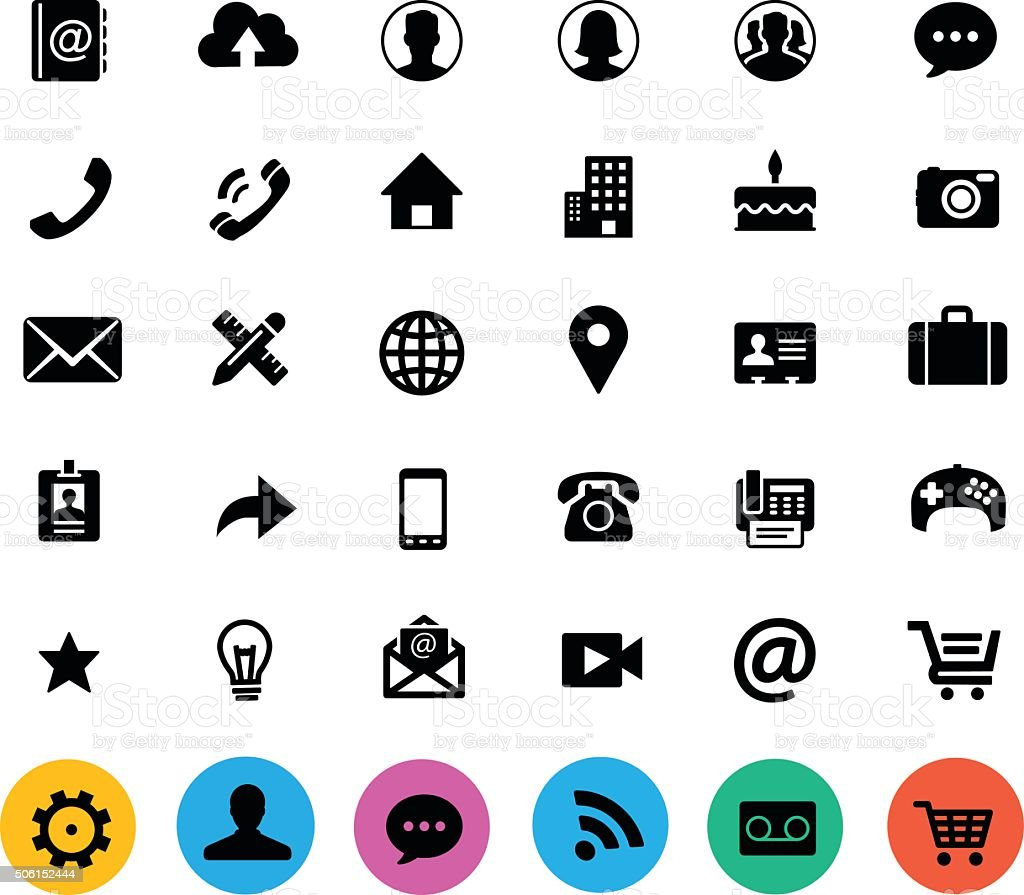 CONTACT_FlatIcon_Set_v2 vector art illustration