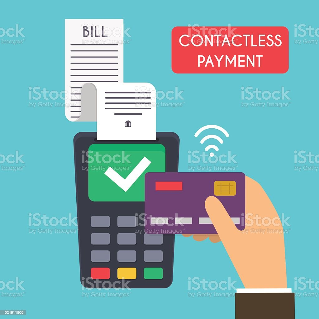 Contactless payment. Male hand holding credit card. Illustration vector art illustration