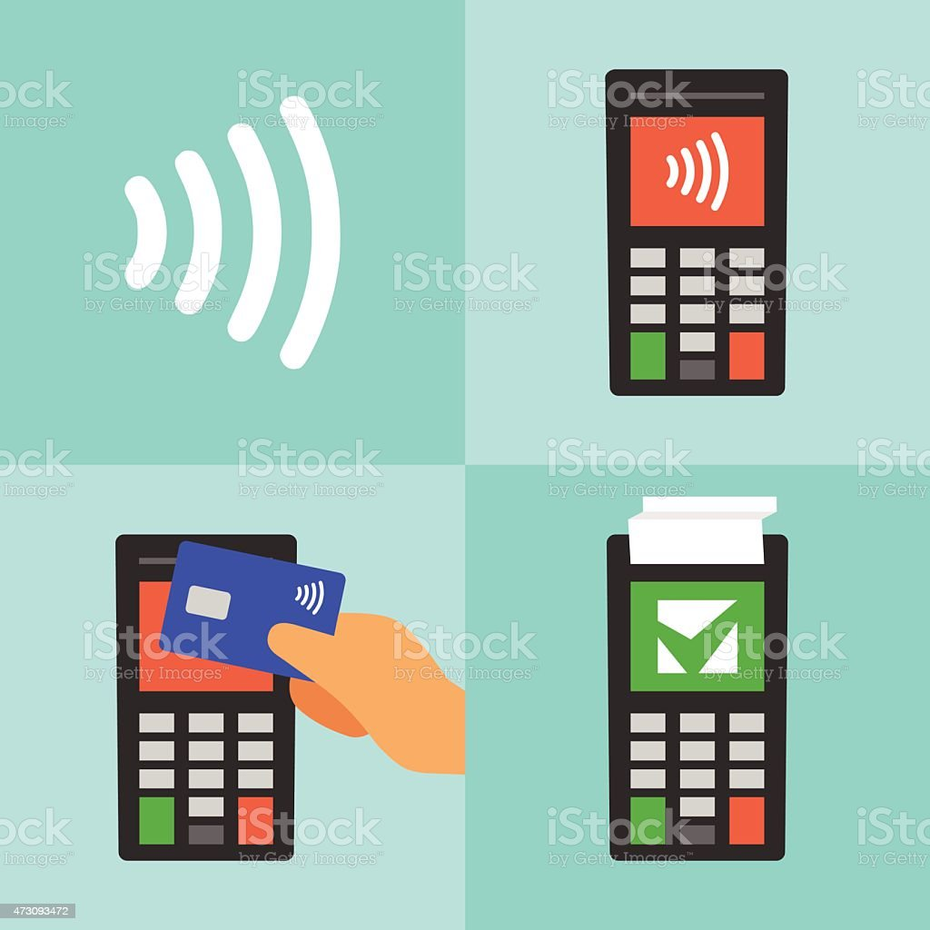 Contactless payment with card manual vector art illustration