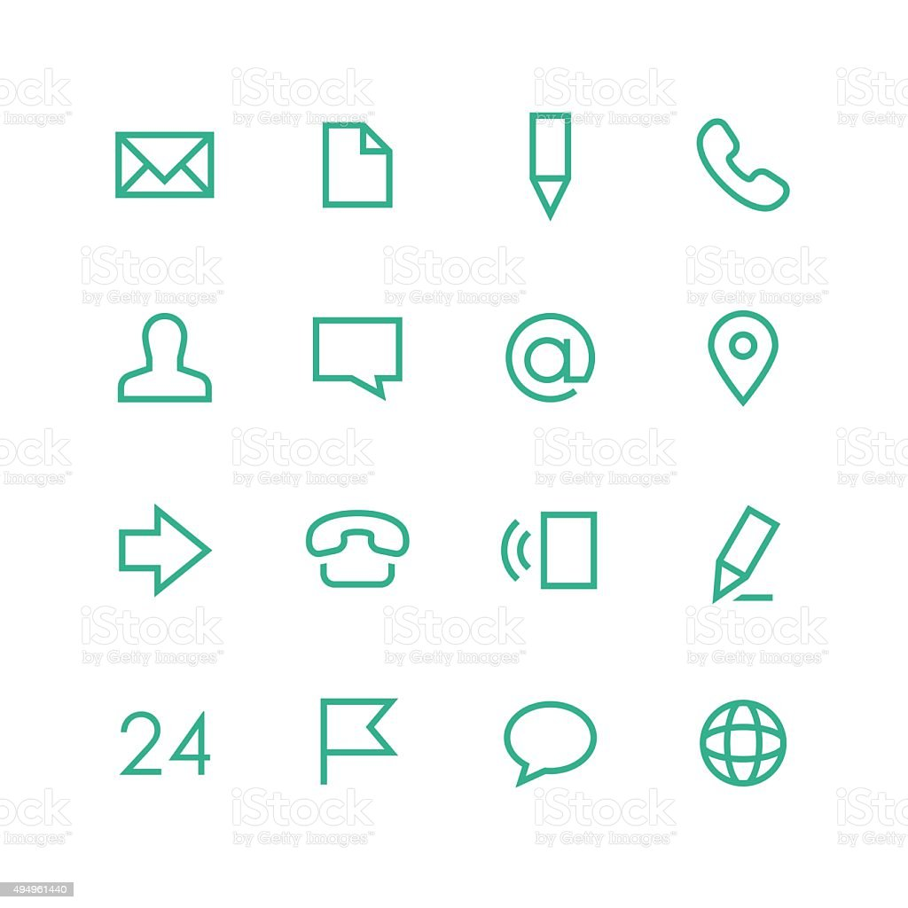 Contacts icon set vector art illustration
