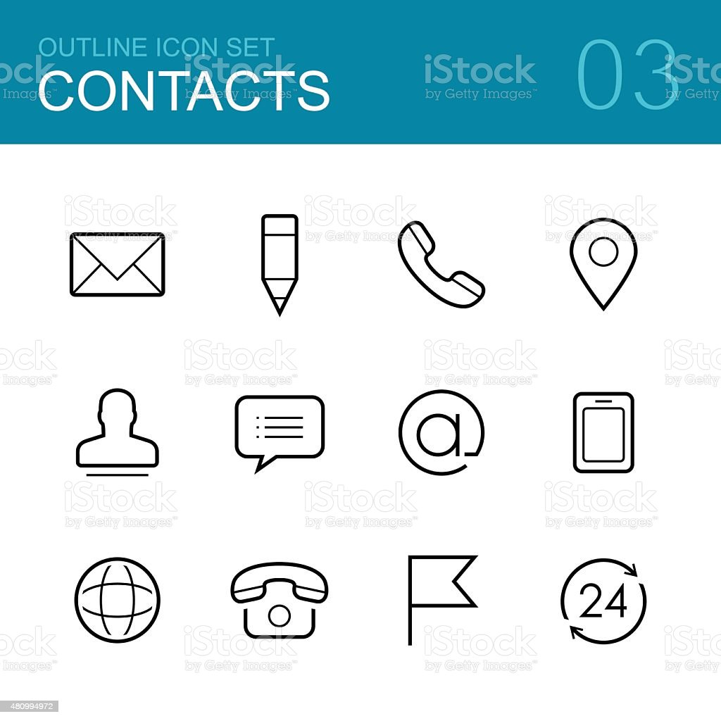 Contacts vector outline icon set vector art illustration