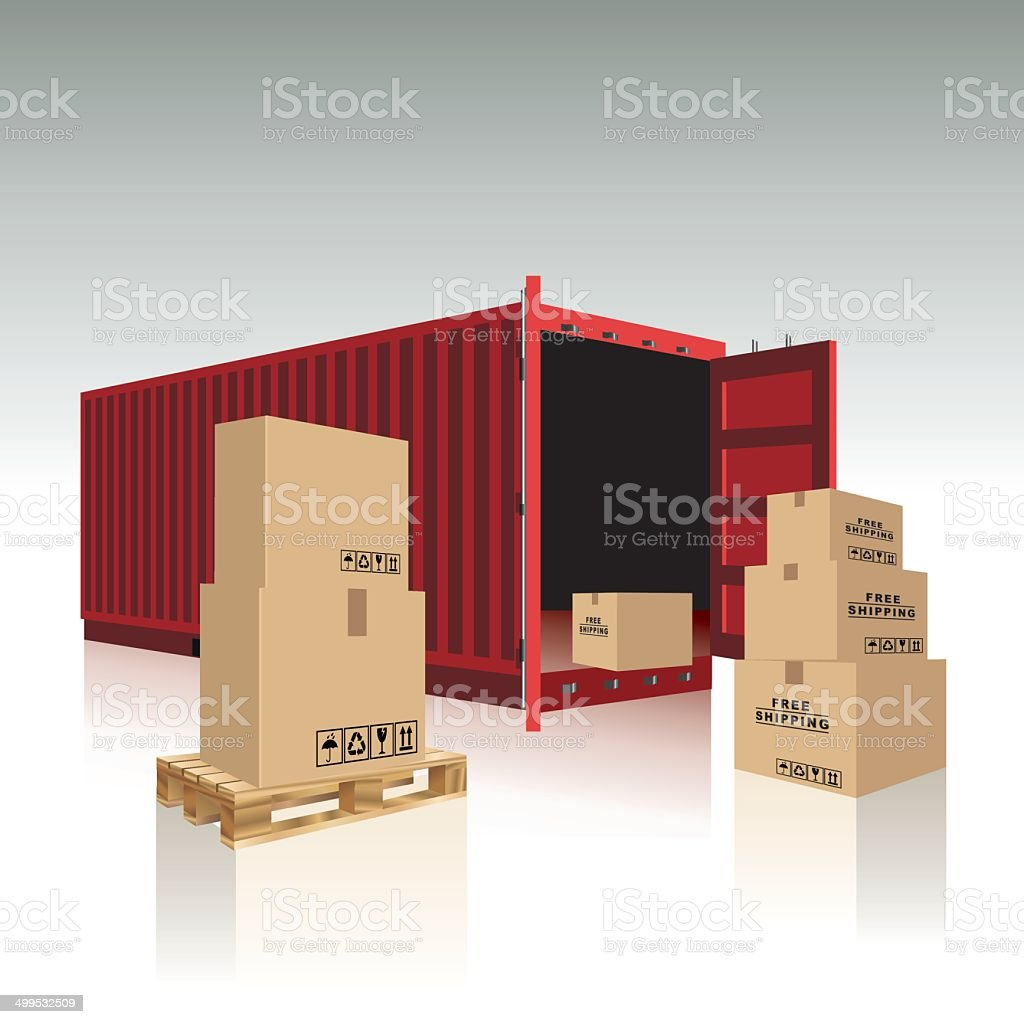 Container and cardboard boxes vector art illustration