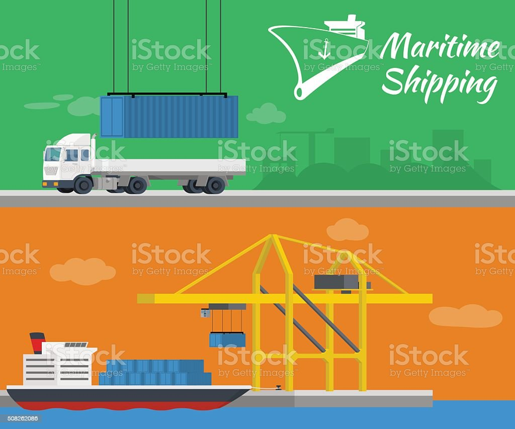 Container ship at freight port terminal. Truck delivery of container. vector art illustration