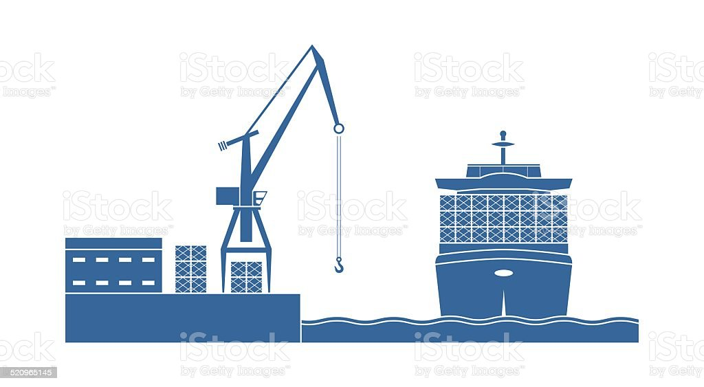 Container ship in the port vector art illustration