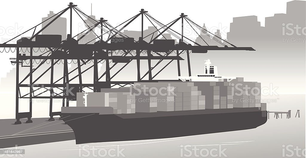 Container Ship royalty-free stock vector art