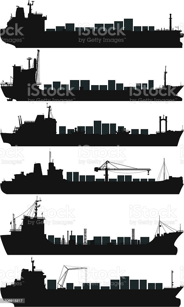 Container Ships vector art illustration