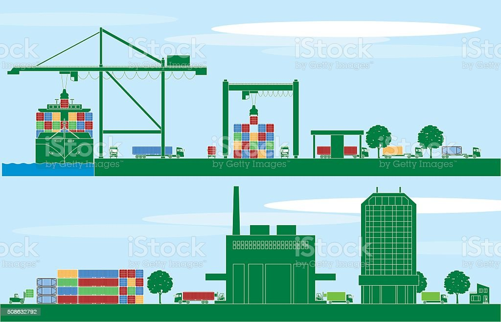 Container terminal and logistics vector art illustration