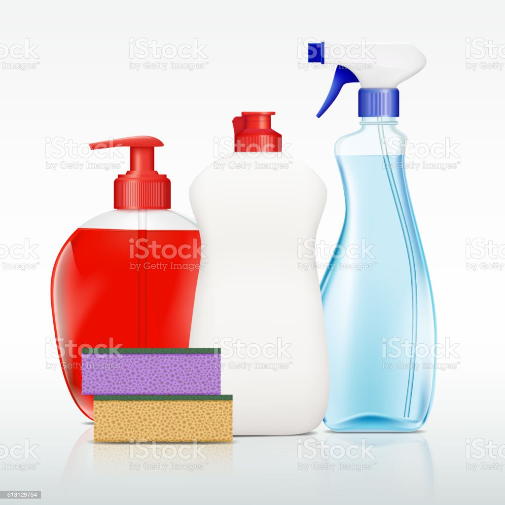 containers with detergent vector art illustration