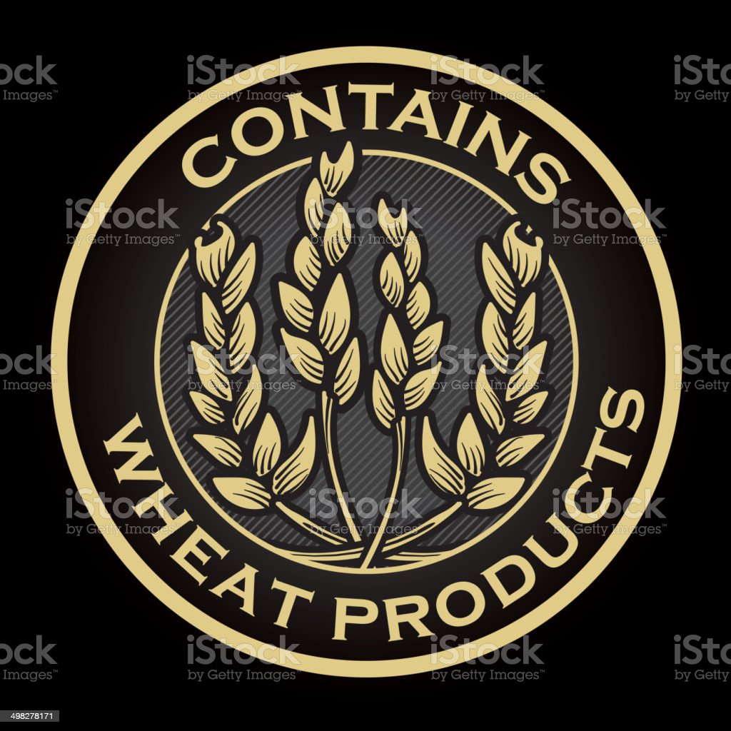 Contains Wheat product label design vector art illustration