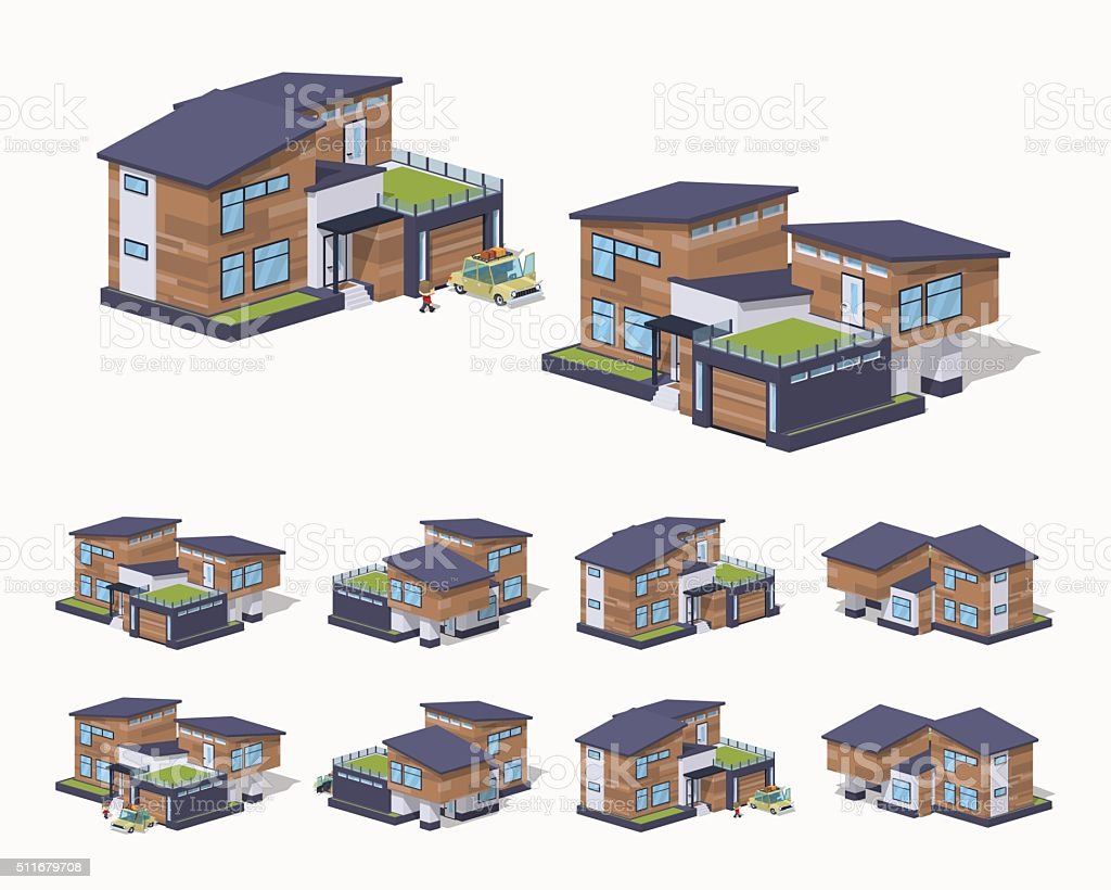 Contemporary american house vector art illustration