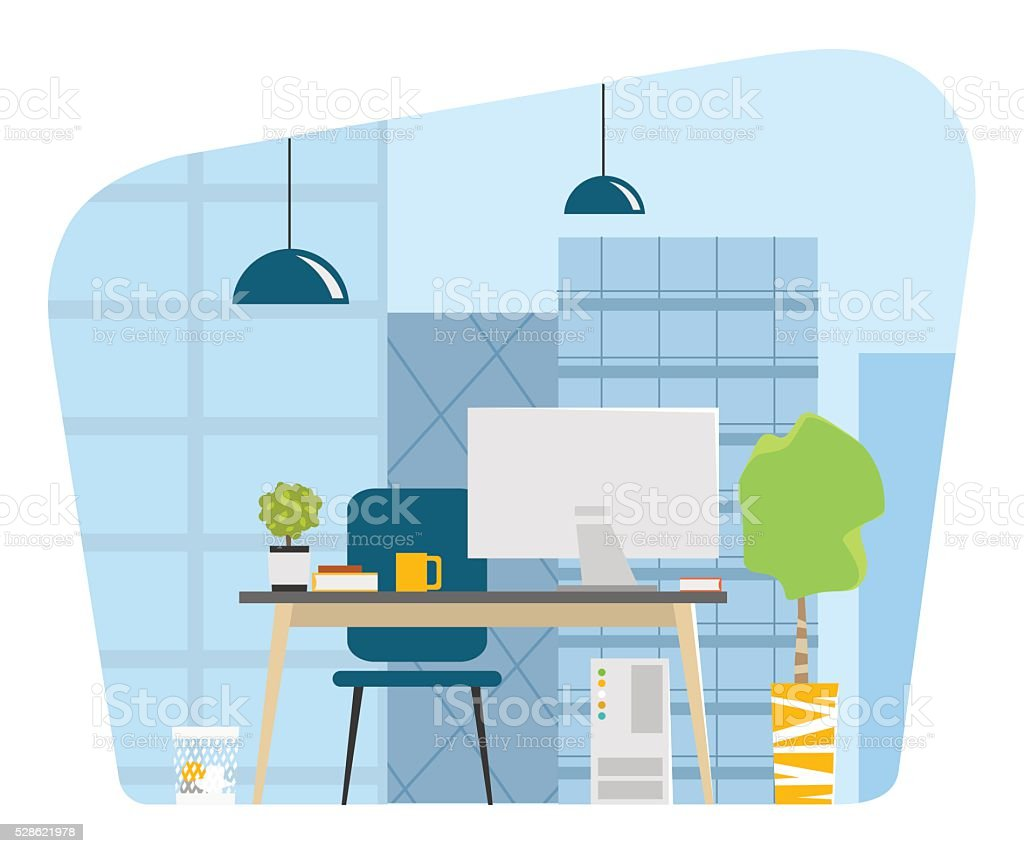 Contemporary modern office workplace big window skyscrapers vector art illustration