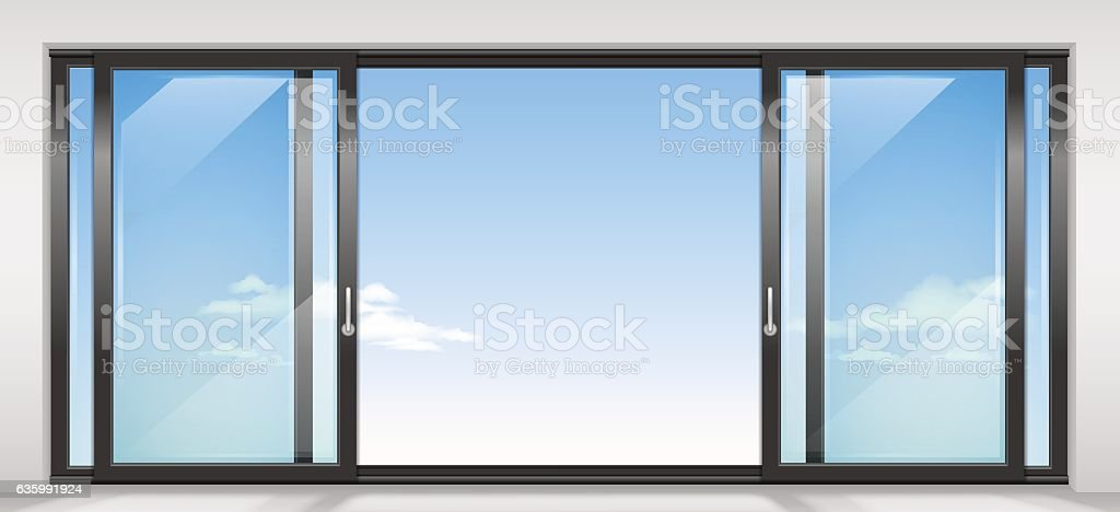 Contemporary sliding door vector art illustration