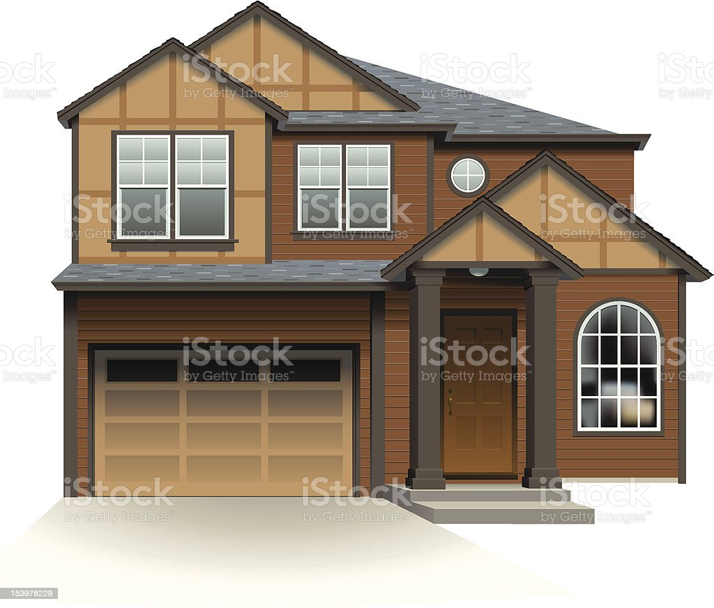 Contemporary Suburban House royalty-free stock vector art