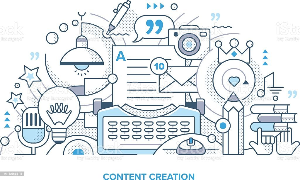 Content Creation Line Illustration vector art illustration