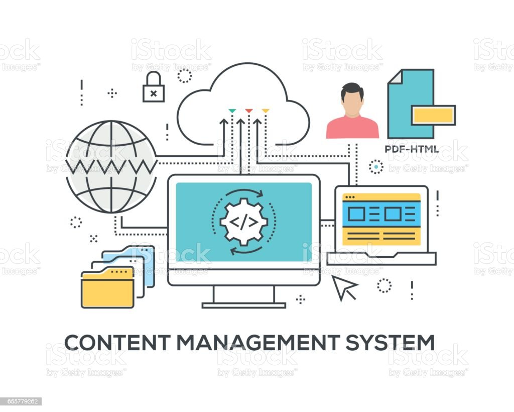 Content Management System Concept with icons vector art illustration