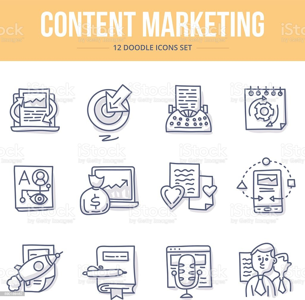 Content Marketing Doodle Icons vector art illustration