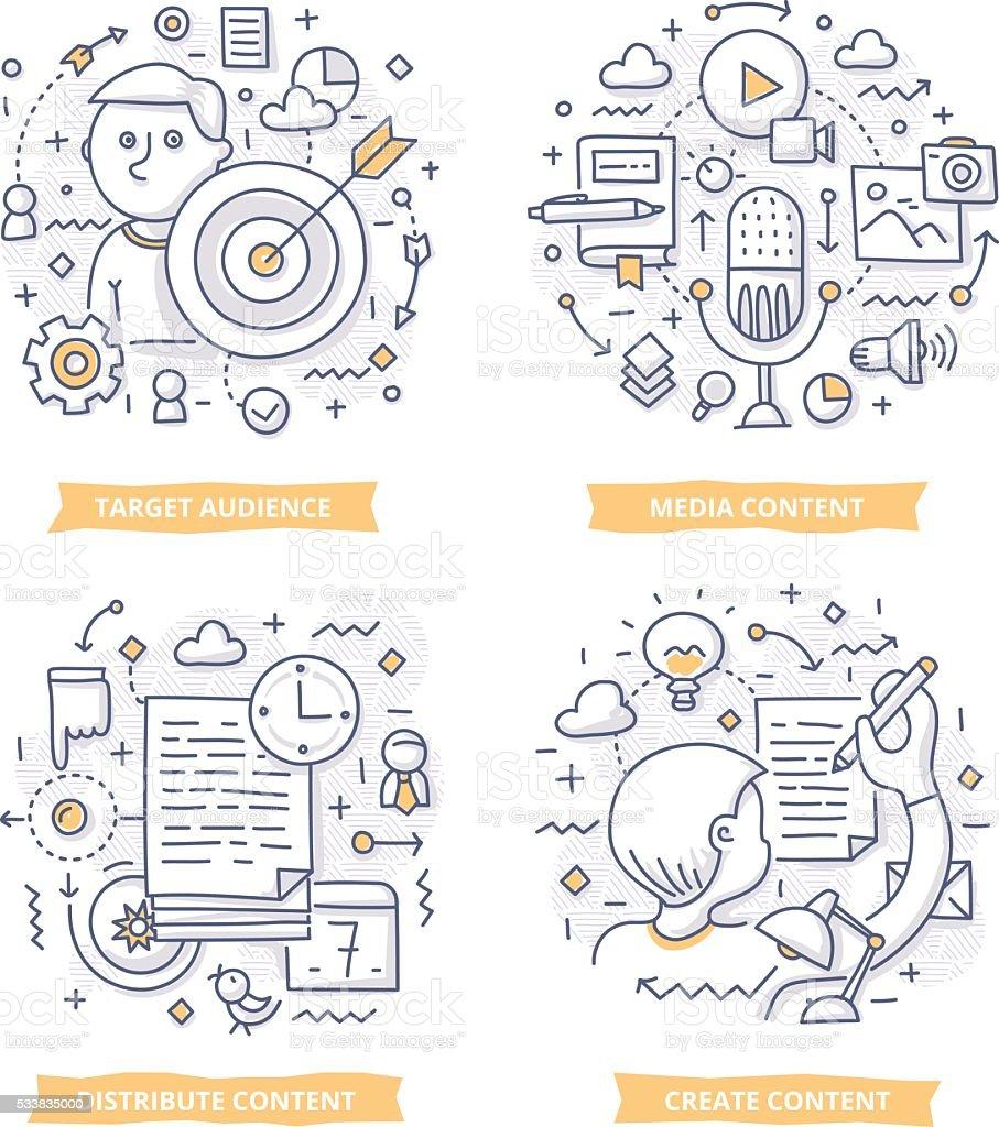 Content Marketing Doodle Illustrations vector art illustration