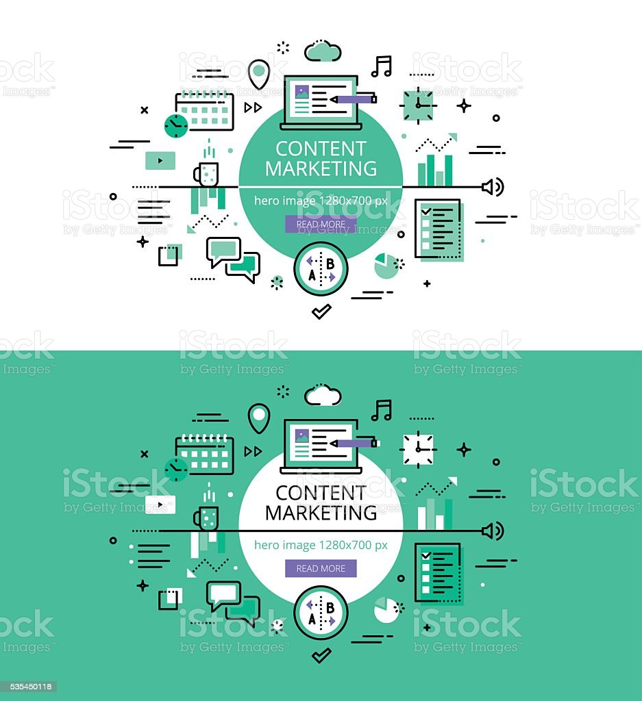 Content Marketing. Flat line color hero images and hero banners vector art illustration
