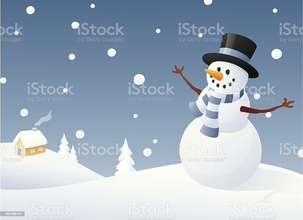 Contented Snowman royalty-free stock vector art
