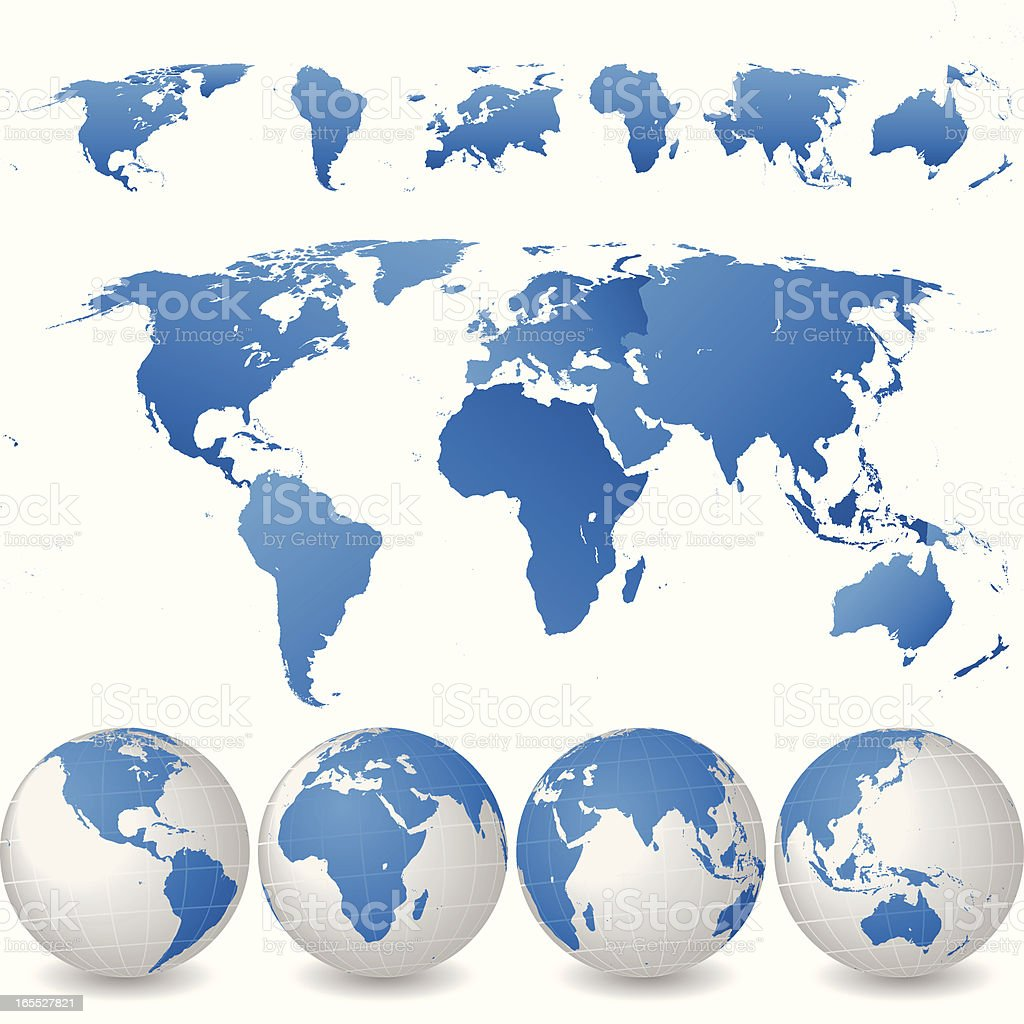 Continent Separated World Map with Globes Set vector art illustration