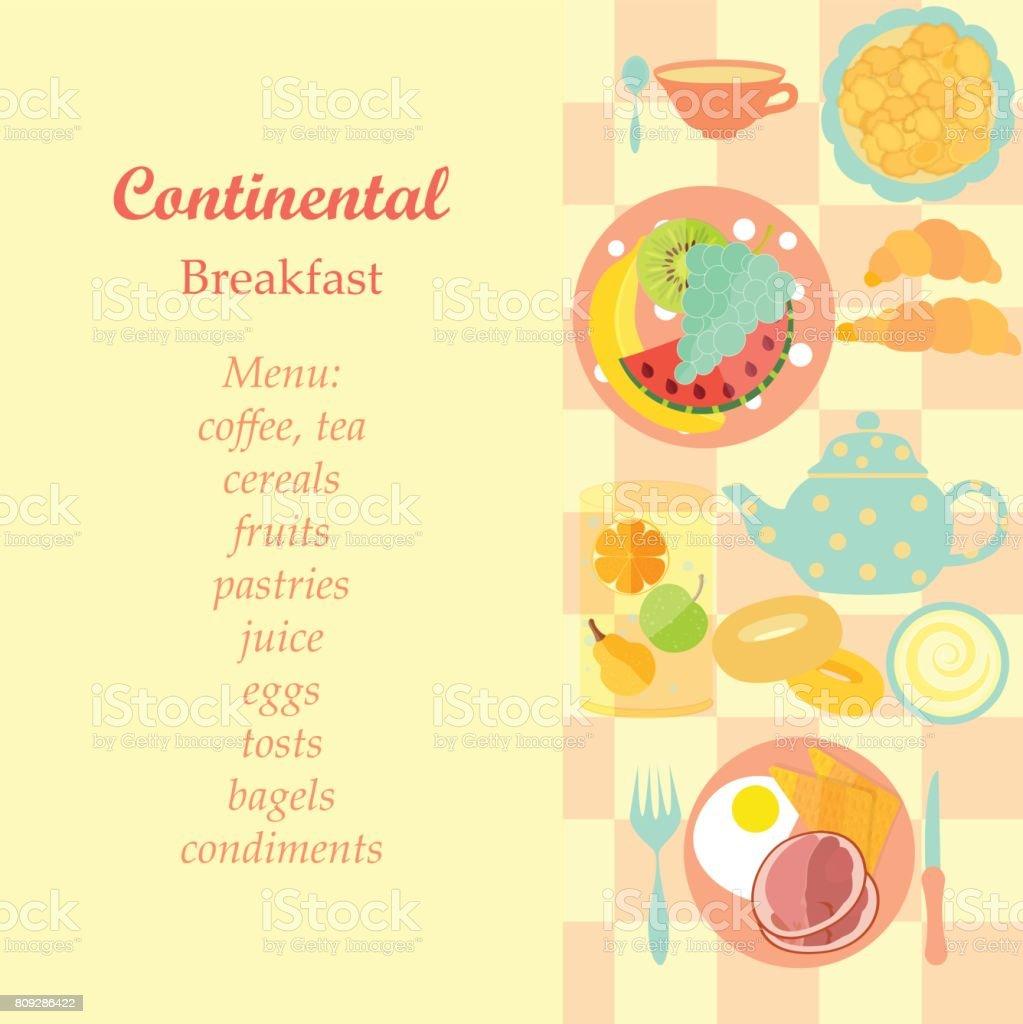 Continental Breakfast vector art illustration