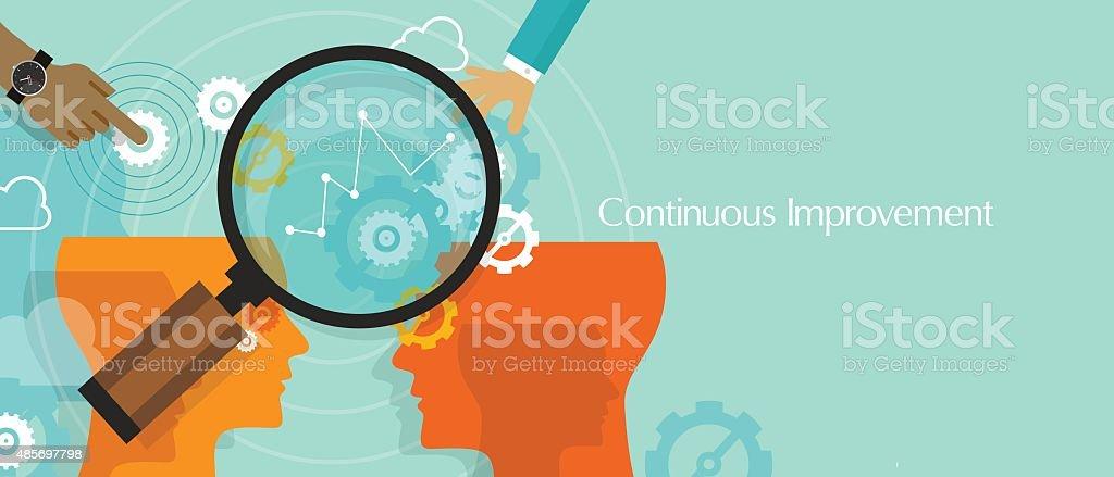 continuous improvement kaizen business concept improve vector art illustration