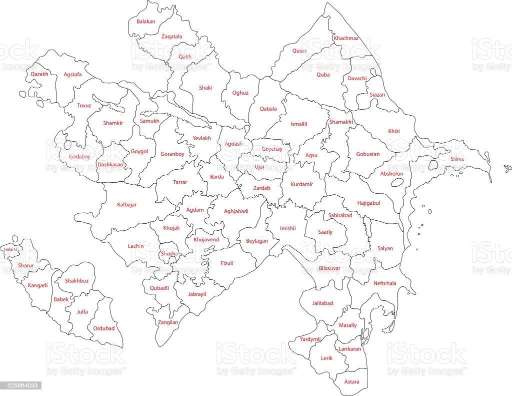 Contour Azerbaijan map vector art illustration