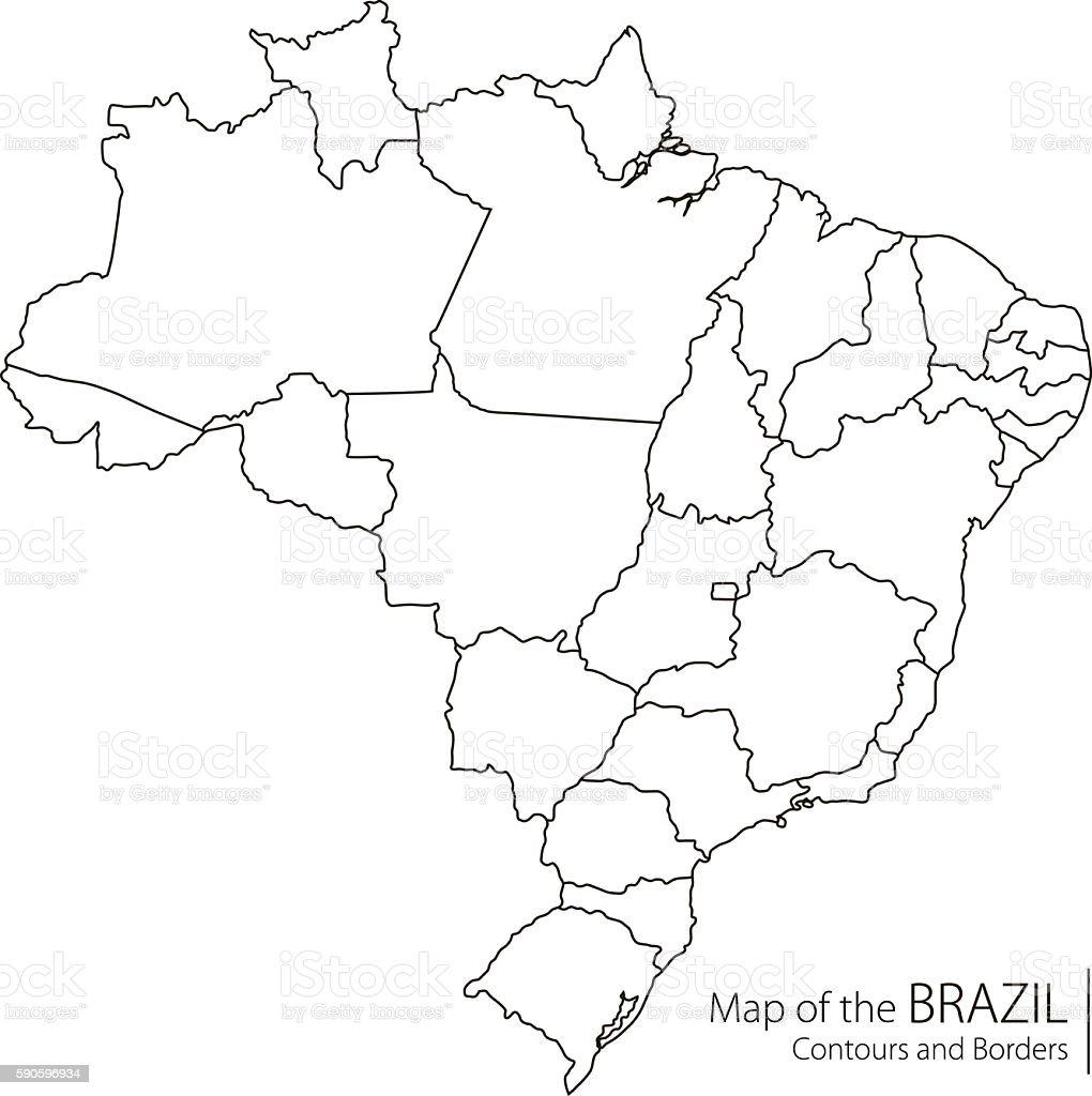 Contour Brazil Map vector art illustration