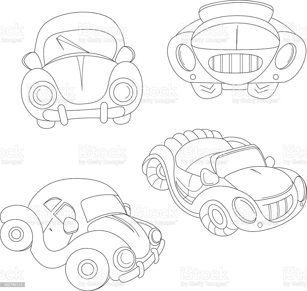 contour cartoon car vector art illustration