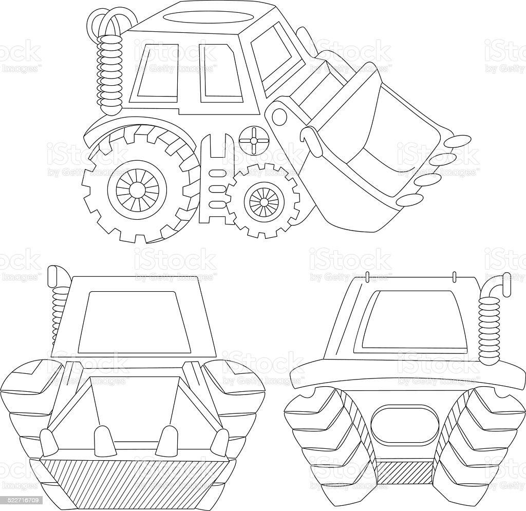 contour cartoon digger vector art illustration