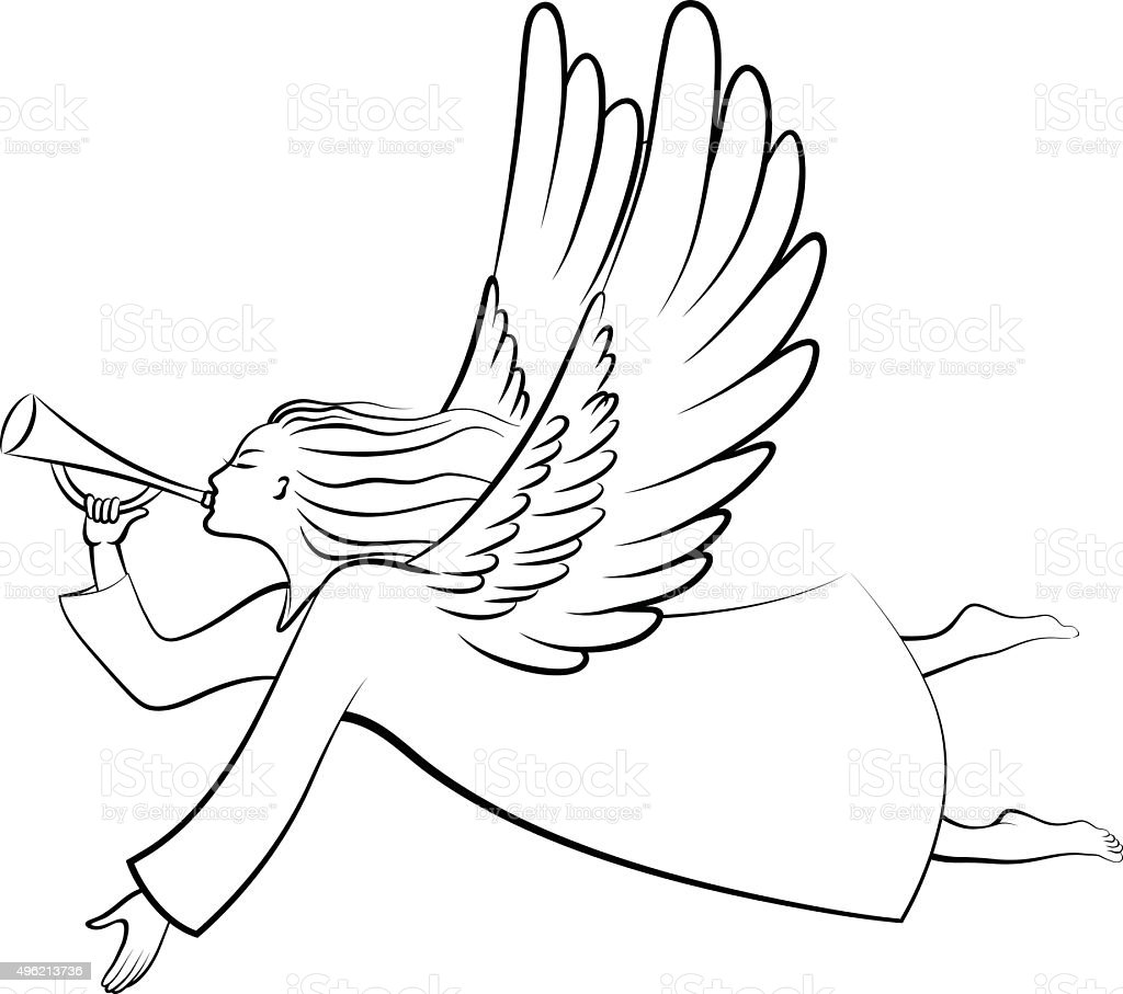 Contour Christmas angel vector art illustration