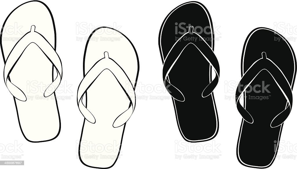 Contour Flip Flops vector art illustration