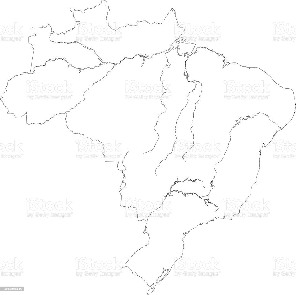 Contour Map Of Brazil Stock Vector Art  IStock - Amazon river map of south america