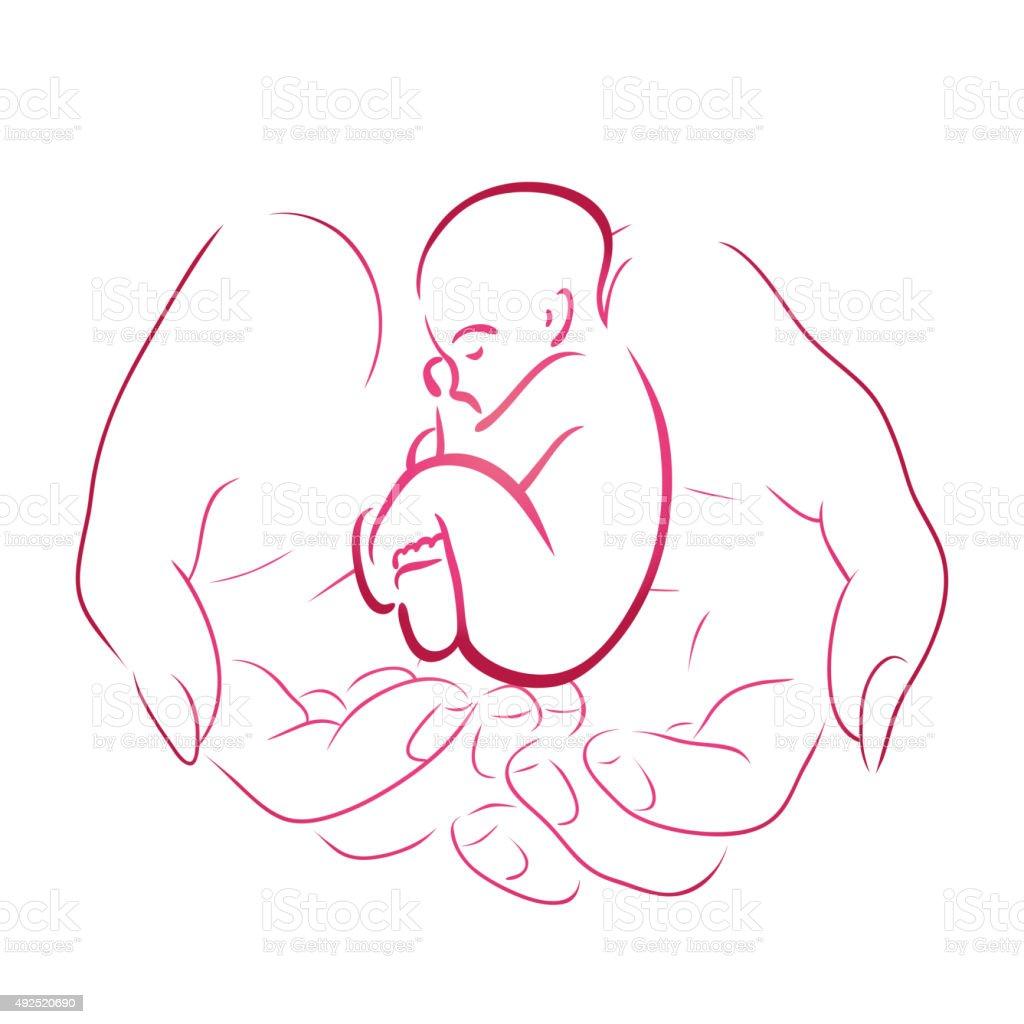 Contour of female hands vector art illustration