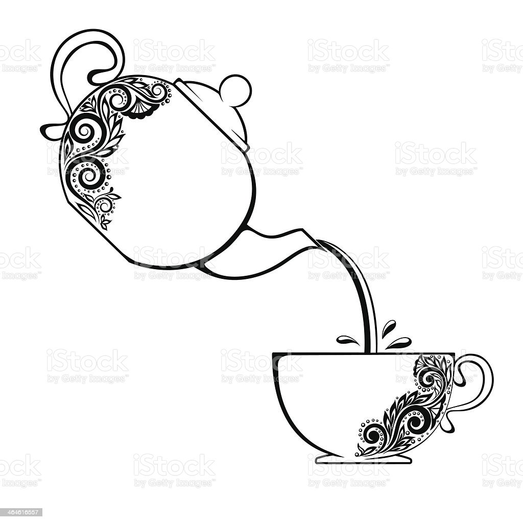 contour of the Cup and teapot with floral element. vector art illustration