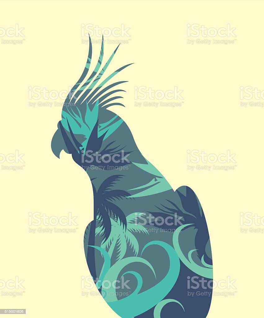 contour parrot Corella inside palm blue vector art illustration
