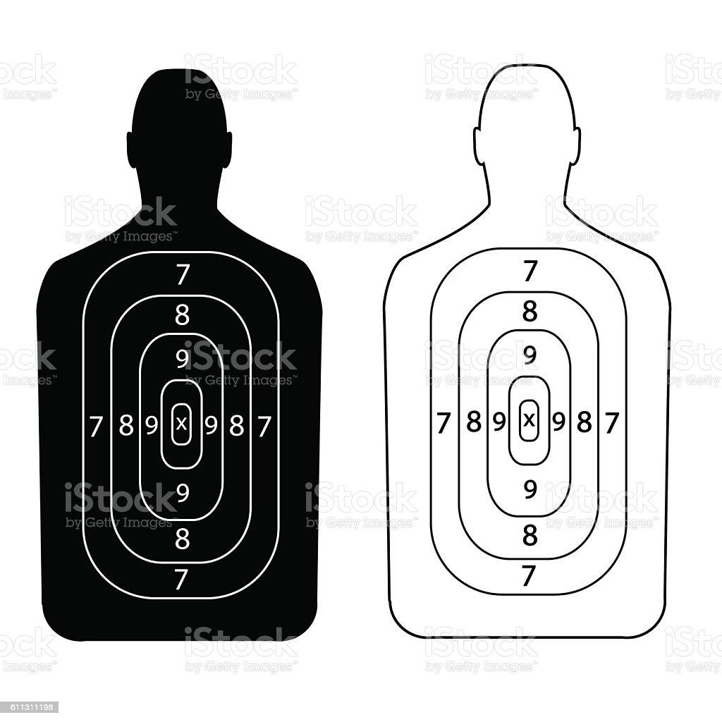 contour people target shooting vector art illustration