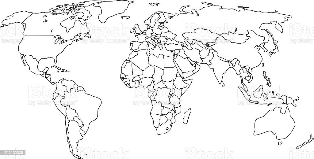 Contour Political map of world with countries. Vector illustration. vector art illustration