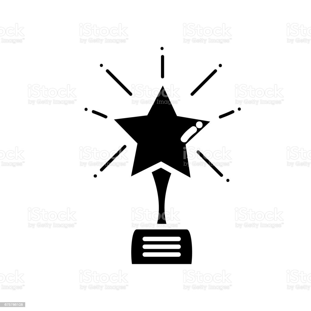 contour short film with star prize tool vector art illustration