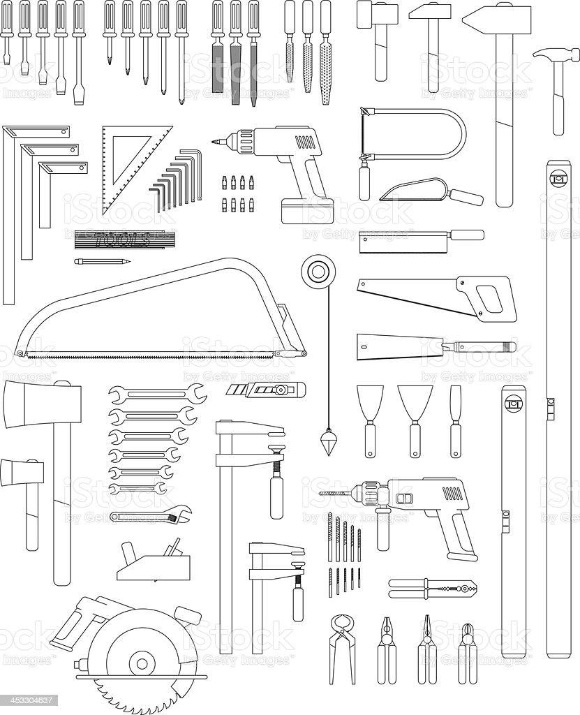 contour tools vector art illustration