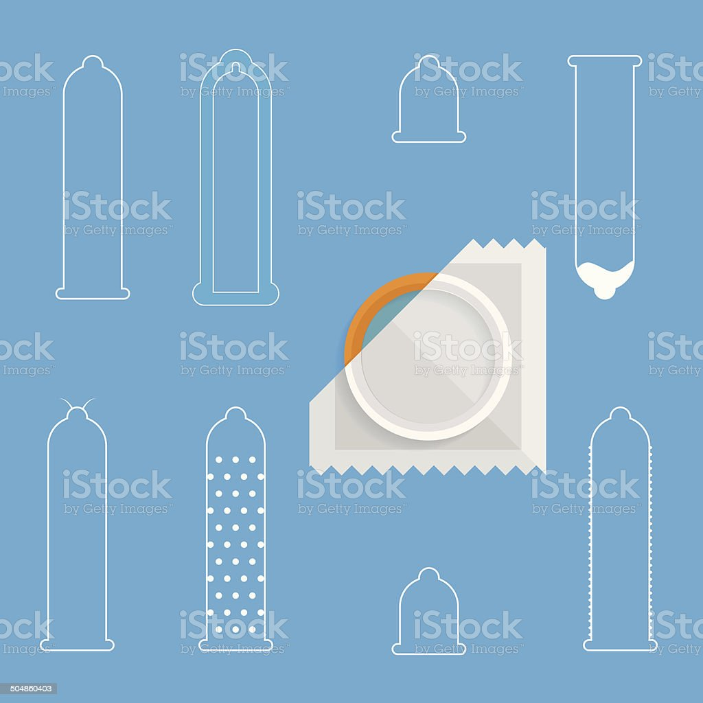 Contour vector icons for condoms vector art illustration