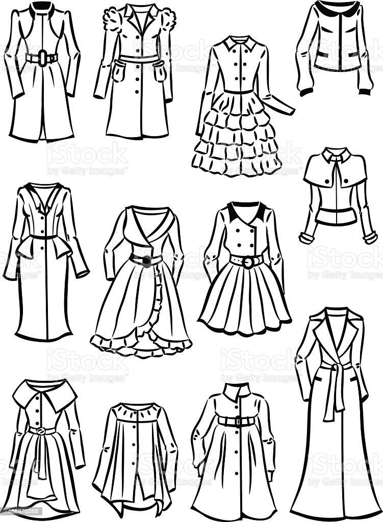 Contours of women's raincoats and windbreakers vector art illustration